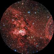 Ganzkuppelschwenk über Sternentstehungsgebiete im Sternbild Carina