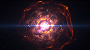 Artist's impression of two white dwarf stars merging and creating a Type Ia supernova
