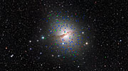 Panning across the giant elliptical galaxy Centaurus A (NGC 5128) and its strange globular clusters