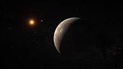Artist's impression van de planeet die rond Proxima Centauri draait