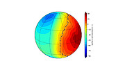 Numerical simulation of possible surface temperatures on Proxima b (synchronous rotation)