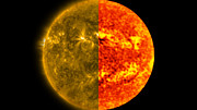Comparison of the solar disc in ultraviolet and millimetre wavelength light