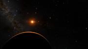 Veduta dal pianeta TRAPPIST-1f