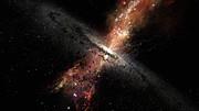 Rappresentazione artistica delle stelle nate all'interno dei venti dei buchi neri supermassicci