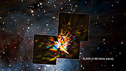 Jämförelse mellan hur ALMA och VLT ser den explosiva händelsen i Orion
