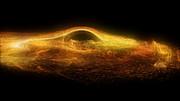 Impressão artística do buraco negro no coração da M87