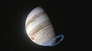 Krachtige stratosferische winden nabij de zuidpool van Jupiter (animatie)