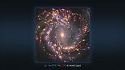Многоцветные изображения галактики NGC 4303, полученные на VLT и на ALMA (аннотировано)