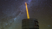 Four lasers fire into the atmosphere