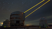 Laser beams over Paranal
