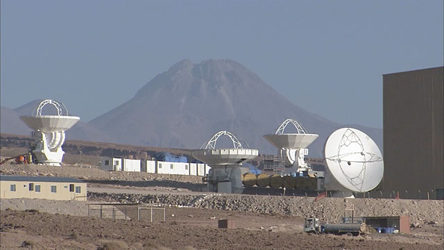 Five ALMA antennas at the OSF