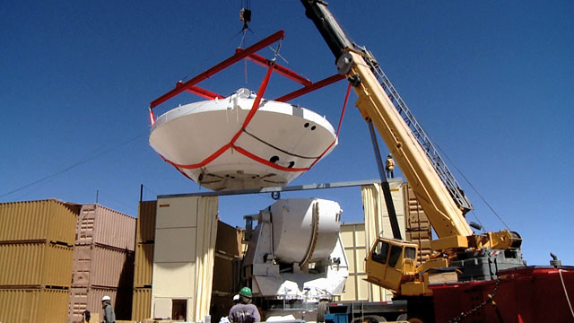 The assembling of an ALMA antenna at the Operations Site Facility (OSF) 3