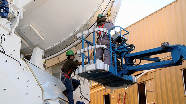The assembling of an ALMA antenna at the Operations Site Facility (OSF) 6