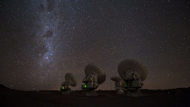 Four ALMA antennas on the Chajnantor pain