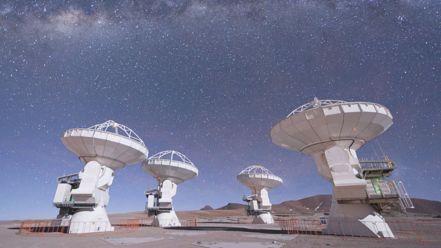 Four ALMA Antennas on the Chajnantor Plateau