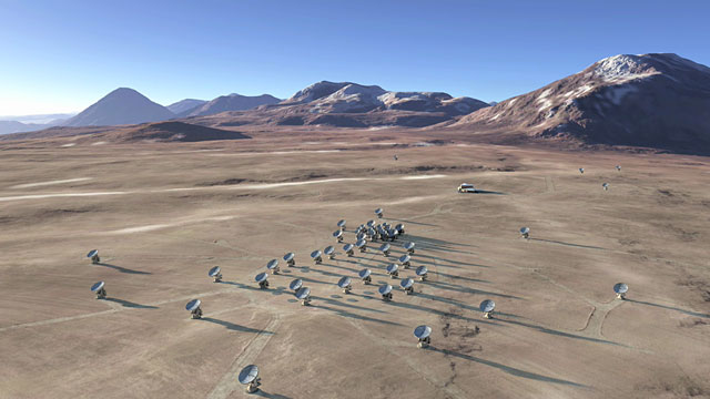 The future ALMA array on Chajnantor (artist's rendering) — 2