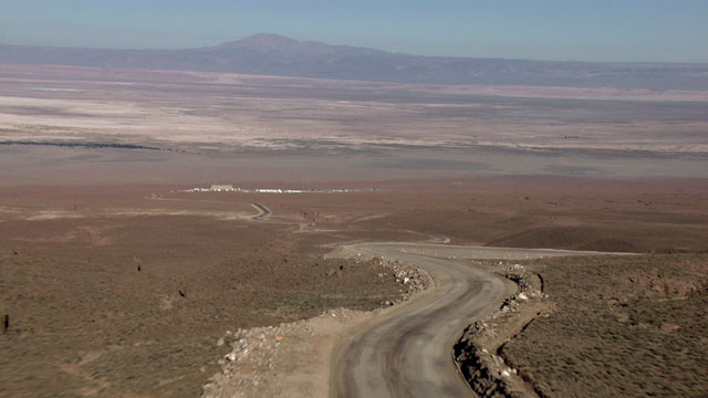 Aerial view of the road to ALMA OSF