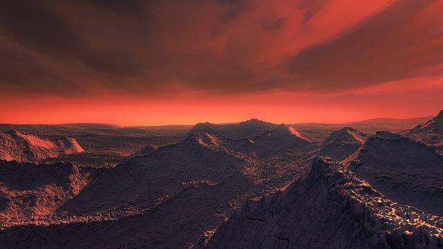 Exploration de la surface d'une super-Terre en orbite autour de l'étoile de Barnard (vue d'artiste)
