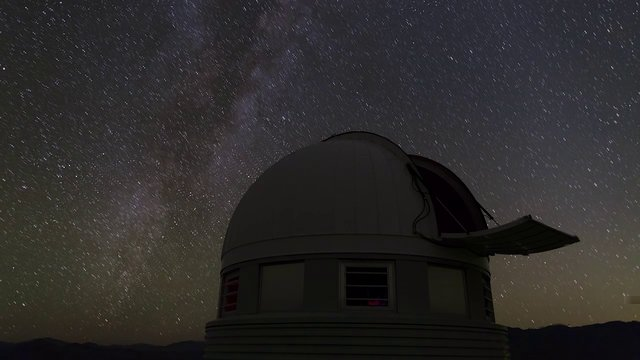 Starry sky over the Swiss 1.2-metre Leonhard Euler Telescope (time-lapse)