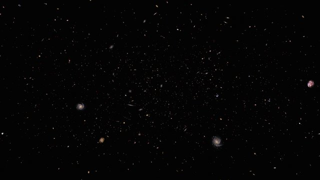 Flight through distant galaxies