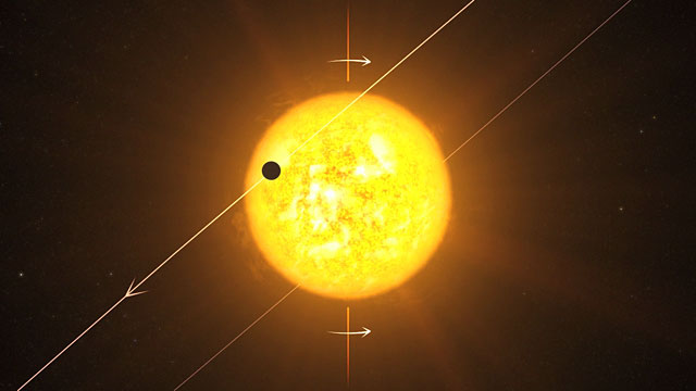 Artist's impression of an exoplanet WASP 8b in a retrograde orbit