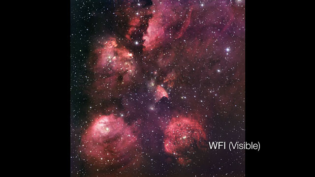 Infrared/visible crossfade of the Cat's Paw Nebula