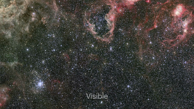 Infrared/visible cross-fade of the VISTA Tarantula Nebula image