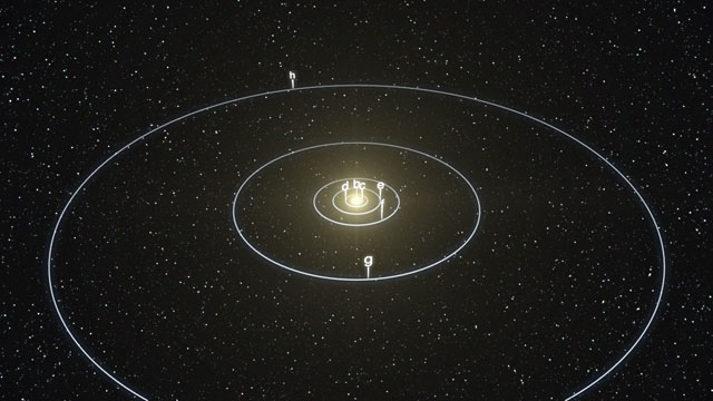 Animation of the planetary system around Sun-like star HD 10180 (artist's impression)