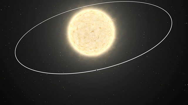 The orbit of the first planet of extragalactic origin (artist's impression)
