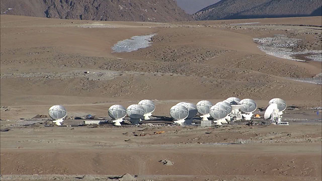 Telephoto view of ALMA antennas on Chajnantor