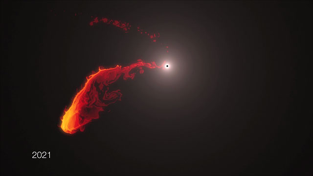 Simulation of gas cloud approaching the black hole at the centre of the Milky Way