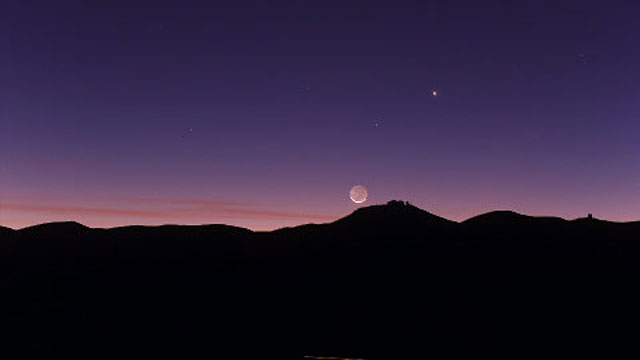 The crescent Moon setting over ESO's Paranal Observatory