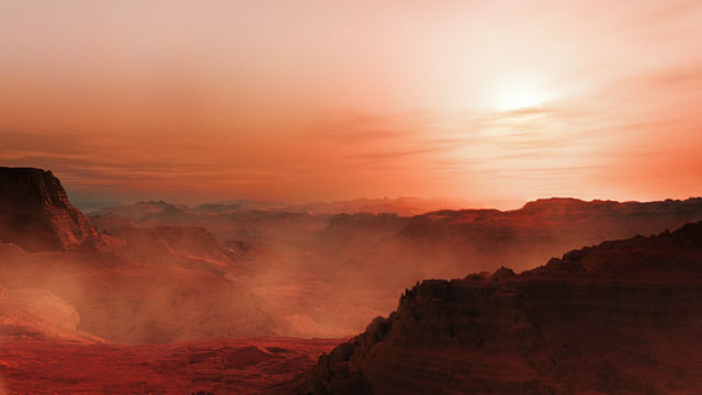 Artist's impression of a sunset on the super-Earth world Gliese 667 Cc