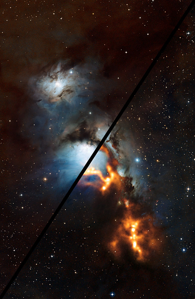 Et kig på støv nær Orions bælte (zoom)