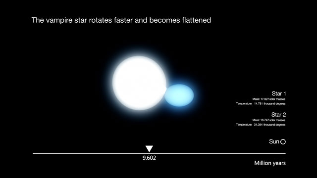 Artist's impression of the evolution of a hot high-mass binary star (annotated version)