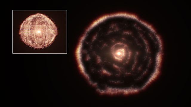 Slicing through a 3D ALMA view of the material around the red giant star R Sculptoris
