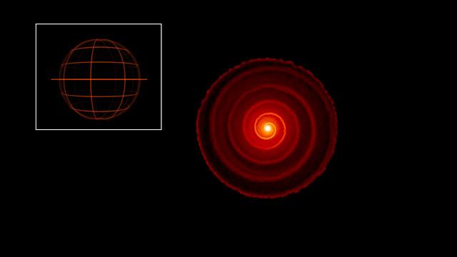 Halkileikkaus punaista jättiläistähteä R Sculptoris ympäröivää materiaa esittävästä 3D-tietokonemallista