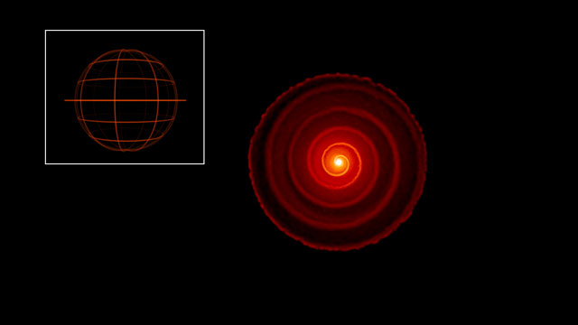 Cortes no modelo 3D do material que circunda a estrela gigante vermelha R Sculptoris