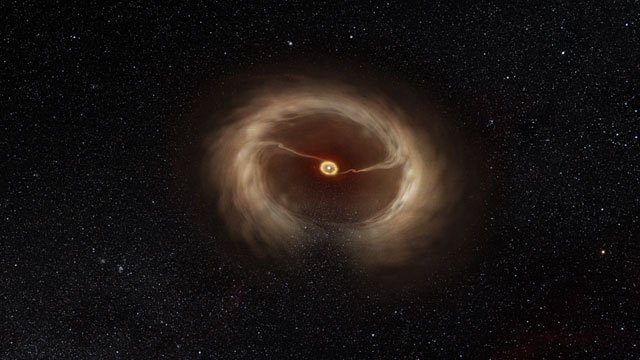Artist's impression of the disc and gas streams around HD 142527