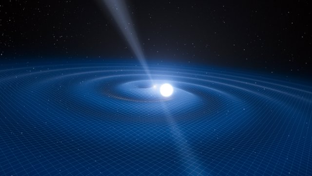 Artist's impression of the pulsar PSR J0348+0432 and its white dwarf companion