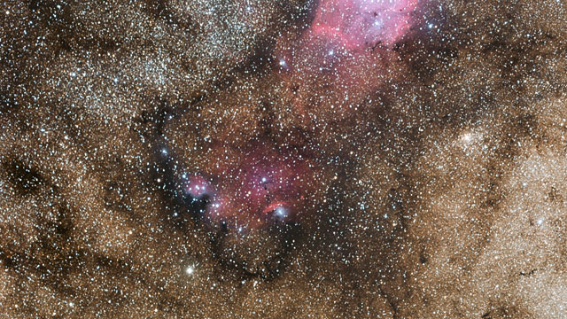 Zooming in on the star formation region  NGC 6559