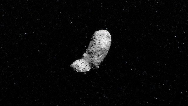 Asteroiden (25143) Itokawa enligt ESO:s rymdkonstnärer (animering)