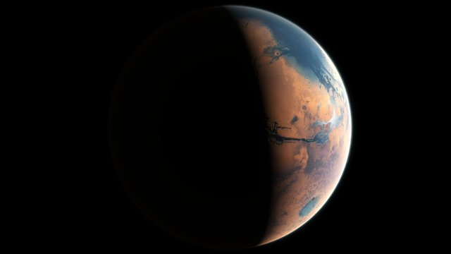 Kunstnerisk framstilling av Mars for fire milliarder år siden