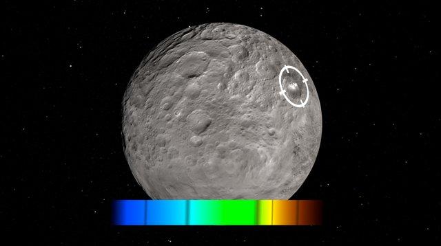 Artist's impression van de heldere vlekken op Ceres, die door de ruimtesonde Dawn zijn ontdekt