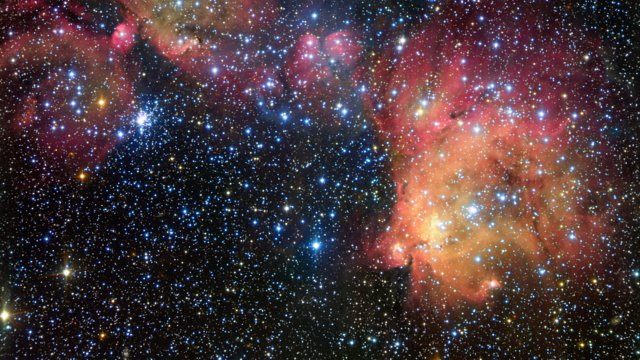 Close-up view of the glowing gas cloud LHA 120-N55 in the Large Magellanic Cloud