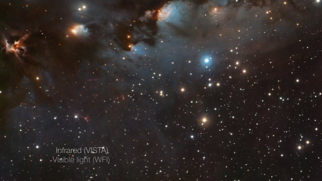 Dissolvenza incrociata tra vedute ottiche e infrarosse di Messier 78