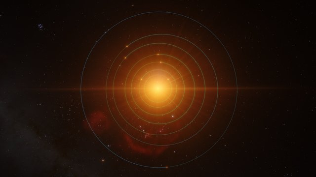 Animation of the planets in orbit around TRAPPIST-1