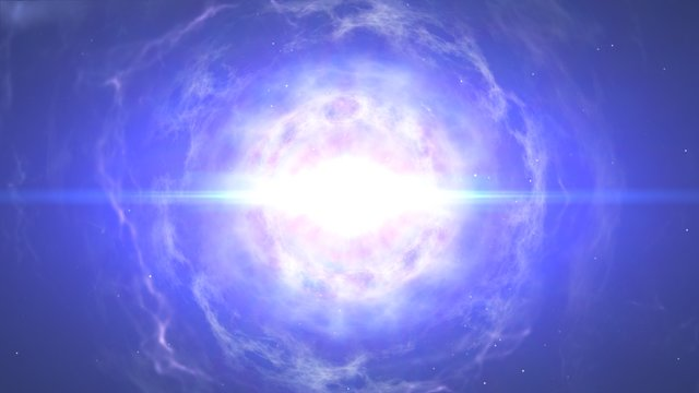 Animazione della fusione di una stella di neutroni che termina con l'esposione di una chilonova