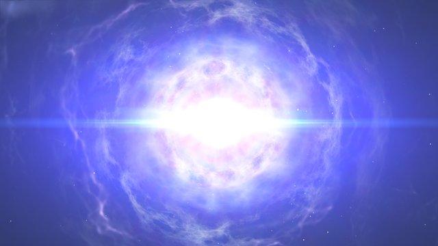 Neutronstjerner støder sammen og animationen ender med en kilonova eksplosion