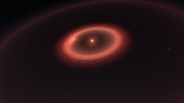 Artist's impression of the dust belts around Proxima Centauri